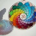 Szivárvány mandala - egyedi üvegre festett mandala ablakdísz, fényfogó, Dekoráció, Otthon, lakberendezés, Dísz, Mandala a szivárvány színeiben... :) Ha egyedi, igazán feltöltő, és szemet kápráztató ablakdíszt ker..., Meska