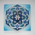 Kék-ezüst Mandala - egyedi festett mandala üveg falióra, Otthon & lakás, Lakberendezés, Falióra, óra, Az ezüst csillogásában van valami tiszta, egyszerű elegancia... Ezúttal is egyedi, saját tervezésű m..., Meska