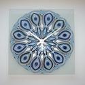 Kék-ezüst nagy Mandala - egyedi festett mandala üveg falióra, Ha szereted a kéket és ezüstöt... :)  Ezút...