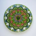 Erdei Tündér - egyedi festett mandala üveg falióra