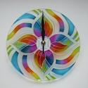 Az Idő könnyedsége - egyedi festett mandala üveg falióra, Egy légiesen könnyű formavilágú, színében a...