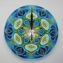 Kék-Menta Mandala - egyedi festett mandala üveg falióra, A kék és zöldeskék szerelmeseinek... :)  Ezút...