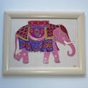 Indiai Elefánt - üvegfestett falikép, Otthon & lakás, Dekoráció, Lakberendezés, Falikép, Ez a különleges, színes elefánt kép vidám színfoltja lehet otthonodnak, ám ajándéknak is tökéletes v..., Meska