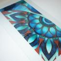 """Teal - Copper Mandala részlet - üvegfestett falikép, Otthon & lakás, Dekoráció, Lakberendezés, Falikép, Egy saját részre tervezett és festett lámpa motívumait dolgoztam fel ebben a képben. :)  Ez a """"kéts..., Meska"""