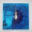 Kék Buddha - egyedi festett üveg falióra, Különleges és erős motívumhoz nyúltam: Buddh...