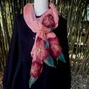 Gézsál virágokkal, Ruha, divat, cipő, Kendő, sál, sapka, kesztyű, Sál, Hangulatos kiegészítője lehet ruhatárodnak 225 X 50 cm hosszú gézsál, melyet rózsaszínre ba..., Meska