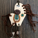 Mókás lovacskás nyaklánc, Ékszer, Nyaklánc, Süthető gyurma, hímző fonal és viaszolt szál kombinációjából született lovacska. Ha beles..., Meska