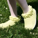 Horgolt sárga bogyós tavaszi csizma, Ruha, divat, cipő, Cipő, papucs, Horgolás, Ez a pár cipő horgolással készült, a talp gumilapból lett kivágva, a horgolt részt pedig hozzávarrt..., Meska