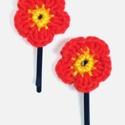 Virágos hullámcsat, Ruha, divat, cipő, Hajbavaló, Hajcsat, Horgolás, Horgolt narancssárga virág hullámcsatra ráragasztva. Az ár egy párra vonatkozik. A virág 3 cm átmér..., Meska