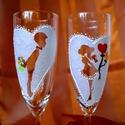 Szerelmespár pezsgőspohár, Esküvő, Szerelmeseknek, Meghívó, ültetőkártya, köszönőajándék, Nászajándék, Festett tárgyak, Fiú / lány pohárpár, üveg, és akril festékkel kézzel készítve.  Ha van egyedi elképzelés, az is meg..., Meska