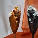 Vintage pezsgőspohár, Esküvő, Szerelmeseknek, Nászajándék, Meghívó, ültetőkártya, köszönőajándék, Festett tárgyak, Gyurma, Vintage stílusú nászpár, repesztett festés technikával kézzel készítve. A díszítés süthető (porcelá..., Meska