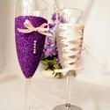 Csillámos pezsgőspohár, Esküvő, Szerelmeseknek, Nászajándék, Meghívó, ültetőkártya, köszönőajándék, Festett tárgyak, Decoupage, transzfer és szalvétatechnika, Glitter (csillám) porral kézzel díszített pohár pár, szatén szalaggal, és strasszkövekkel díszítve...., Meska