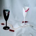 Elegáns pezsgőspohár, Esküvő, Szerelmeseknek, Nászajándék, Meghívó, ültetőkártya, köszönőajándék, Festett tárgyak, Gyurma, Elegáns nászpár, akril festékkel kézzel készítve.Gyöngyökkel, és süthető (porcelán) gyurmából, szin..., Meska