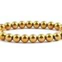 Hematit, arany színű 8 mm-es karkötő, Ékszer, Karkötő, A hematit arany színű bevonattal ellátott 8 mm-es gömbjeiből készített gumis, ásvány karkötő.  A kar..., Meska