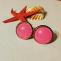 Rózsaszín műbőr üveg bedugós fülbevaló, Ékszer, Fülbevaló, Üveg és műbőr felhasználásával, kézzel készített egyedi fülbevaló. A műbőrt üveg alá..., Meska