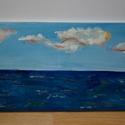 Felhős ég, Képzőművészet, Otthon, lakberendezés, Festmény, Akril, Festészet, Akril festmény feszített vásznon, lakk fedőréteggel, 30x70 cm, Meska