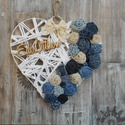 Szív kopogtató farmer virágokkal, Dekoráció, Otthon, lakberendezés, Dísz, Ajtódísz, kopogtató, Egyedi farmer virágokkal díszített, 20 cm-es szív alapra készült kopogtató, melyet egy csipke..., Meska