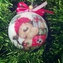 Karácsonyi óriás gömb kutyussal, Dekoráció, Karácsonyi, adventi apróságok, Ünnepi dekoráció, Karácsonyfadísz, Karácsonyi dekoráció, Decoupage, transzfer és szalvétatechnika, Karácsonyi óriás   gömb kutyussal  Nagyon szép , kifejezetten gyerekeknek szánt mintával , hiszen i..., Meska