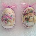 Tojás babás 2, Húsvéti díszek, Baba-mama-gyerek, Dekoráció, Decoupage, transzfer és szalvétatechnika, HÚSVÉTI  TOJÁS 2 Mint egy gyönyörűen festett húsvéti tojás , de nem törik el , tartós ,örök emlék m..., Meska