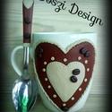 Még mindig Kávé !, Konyhafelszerelés, Bögre, csésze,  Fehér kerámia bögre a kávé szerelmeseinek  díszítve a hozzá készült díszített kiskanállal. A díszít..., Meska