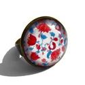 VÖRÖS PÓKLILIOM kollekció: gyűrű :), Ékszer, óra, Gyűrű, Ékszerkészítés, Ha szereted a piros színt, akkor ez a kollekció számodra lett megalkotva. :)   Üveglencse mérete: 1..., Meska