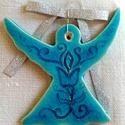 Türkiz kerámia angyalka , Az angyalkát fehér agyagból készítettem, majd...
