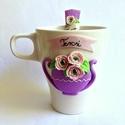 Vintage romantikus rózsacsokor teázó készlet (bögre és kanál), Esküvő, Konyhafelszerelés, Nászajándék, Bögre, csésze, Gyurma, Kerámia, Romantikus lélek... Romantikus életérzés.... Romantikus kiegészítők....  Ez a szellőrózsa teázó kés..., Meska