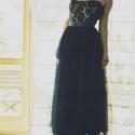 éj kék hosszú tüll szoknya3 felső , Ruha, divat, cipő, Esküvői ruha, Varrás, csodás éj kék hosszú tüll szoknya és felső rendelhető a képen láthatóval teljesen azonos lesz, Meska