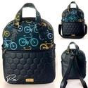 """Biciklis """"RITA"""" 4 az 1-ben cipzáras női táska/hátizsák, Fekete méhsejtmintásan steppelt textilbőrből, ..."""