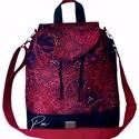 """Burgundi vörös vízálló """"ANDI"""" 3 az 1-ben női táska/hátizsák zárófedéllel , Különleges burgundi vörös vízálló designer ..."""