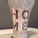 Home üveg váza, Dekoráció, Otthon, lakberendezés, Kaspó, virágtartó, váza, korsó, cserép, Decoupage, transzfer és szalvétatechnika, Festett tárgyak, Decoupage technikával díszített üveg váza, a szürke különböző árnyalataival. Mérete: 25 cm, Meska
