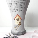 Home üveg váza, Dekoráció, Otthon, lakberendezés, Kaspó, virágtartó, váza, korsó, cserép, Decoupage technikával díszített üveg váza, a szürke különböző árnyalataival. Mérete: 25 ..., Meska