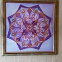 """Lila selyemmandala, Dekoráció, Képzőművészet, Kép, Festmény, Selyemre festett lila mandala, Tündérmandalának is hívom a formákból """"véletlenül"""" kialakult ..., Meska"""