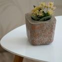 Beton kaspó rozé arany mintával, Otthon, lakberendezés, Kaspó, virágtartó, váza, korsó, cserép, Mindenmás, Szobrászat, Azonnal bele lehet szeretni és nem lehet megunni.  Ez az exkluzív beton virágtartó utánozhatatlan h..., Meska