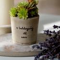 Kaspó különleges üzenettel - boldogság, Otthon & lakás, Lakberendezés, Kaspó, virágtartó, váza, korsó, cserép, Ez az exkluzív beton virágtartó utánozhatatlan hangulatvilágával barátságosabbá, otthonosabbá varázs..., Meska
