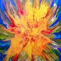 Kék - sárga fénycsóva, Otthon, lakberendezés, Falikép, Festészet, Egyedi - kézzel készített - vászonra festett - akrilfestmény . Mérete : 90 cm x 60  cm , Meska