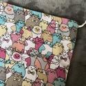 Rózsaszín cicás kenyeres zsák (30x45 cm), A tasak egyik oldala pamutvászonból, míg a bels...