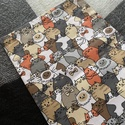 Barna cicás kenyeres zsák (30x45 cm) , A tasak egyik oldala pamutvászonból, míg a bels...