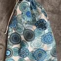Kék mandalás kenyeres zsák (30x45 cm), A tasak egyik oldala pamutvászonból, míg a bels...