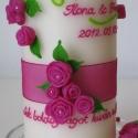 pink rózsa mintás esküvői gyertya, nászajándék  (brita5) - Meska.hu