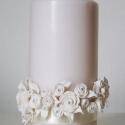 fehér rózsás gyertya esküvőre, szülinapra, névnapra... (brita5) - Meska.hu