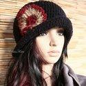 FLAPPER kalap szélrózsával, Horgolt fekete kalapocska hazai gyapjúfonó ruszt...