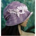 MAGNÓLIA  design-kalap, Ruha, divat, cipő, Női ruha, Kendő, sál, sapka, kesztyű, Sapka, Romantikus lelkűeknek: Puha, kétrétegű, csini, könnyű kalapka elasztikus orgona-lila buklé-csipkéből..., Meska