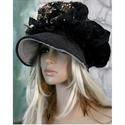 ANTÓNIA -  barett-kalap / fekete arannyal, Ruha, divat, cipő, Női ruha, Kendő, sál, sapka, kesztyű, Sapka, Dús formájú, sildes patchwork kalap romantikus Hölgyeknek a hideg téli napokra:  Ezt a darabot sok-s..., Meska