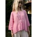 TULIPÁN - vászonblúz , Ruha, divat, cipő, Női ruha, Blúz, Felsőrész, póló, Könnyű pamutvászonból készült, rózsaszínre festett modellem kellemes nyári viselet. Elöl-hátul letűz..., Meska