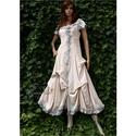 BELLA - romantikus design ruha , Ruha, divat, cipő, Képzőművészet, Női ruha, Textil, Varázslatos vintage hatás: Rusztikus lenvászonból készült ez a romantikus modellem. Az elől futó fém..., Meska