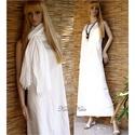 TRAPÉZ-ruha - EMILY, Ruha, divat, cipő, Női ruha, Ruha, Egyszerű, jó szabású, tört-fehér, enyhén karcsúsított hosszú trikóruha, amely ruhatárad alapdarabja ..., Meska