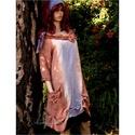 PANDORA - lagenlook tunika-ruha , Ruha, divat, cipő, Női ruha, Ruha, Ezt a modellem könnyű pamutvászonból terveztem és kézzel festettem.  Széles csónaknyaka köré rózsába..., Meska