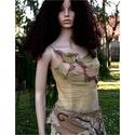 """NIMFA top  -  art to wear :""""őszike"""", Ruha, divat, cipő, Női ruha, Felsőrész, póló, Vékony, puha pamuttop alkotja ennek az ősz-színekben pompázó, lehelet-vékony gézzel applikált felsőn..., Meska"""