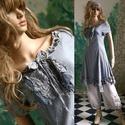 EMMY-BLUE - romantikus design-ruha , Ruha, divat, cipő, Képzőművészet, Női ruha, Textil, Akvarell-technikámmal kézzel festettem ezt a bájos, bolyhos-puha pamutvászonból készített raglán-ruh..., Meska